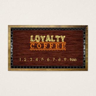 Loyalty Coffee Punch Wood Look Metal Border Business Card