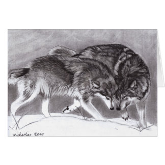 Loyalty - Wolves in snow greeting card