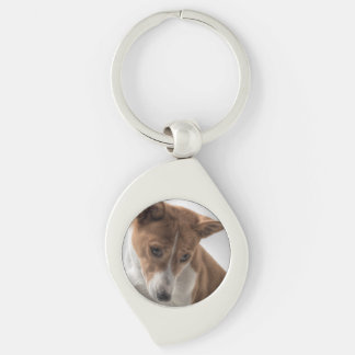 LS basenji.png Silver-Colored Swirl Key Ring