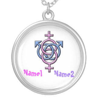 LS name tag Silver Plated Necklace