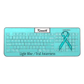 Lt Blue / Teal Standard Ribbon by Kenneth Yoncich Wireless Keyboard