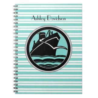 Lt Blue White Striped Black Cruise Ship Nautical Spiral Note Book