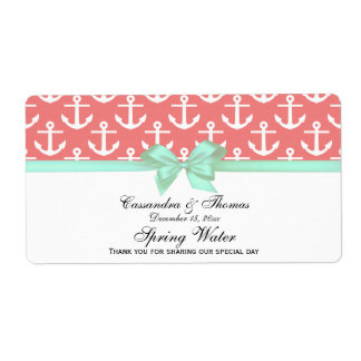 Lt Coral White Anchors Mint Bow Party Water Label Shipping Label