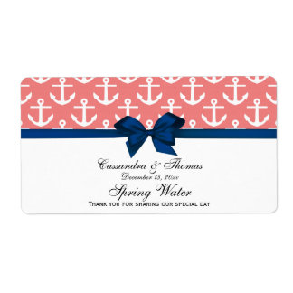 Lt Coral White Anchors Navy Bow Party Water Label