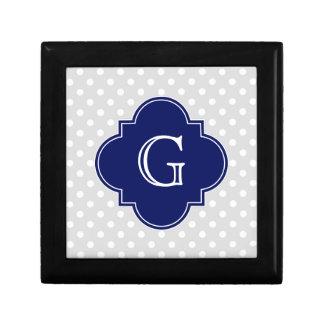 Lt Gray White Polka Dot Navy Quatrefoil Monogram Gift Box