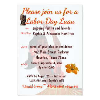 Luau Party Labor Day Barbeque Card