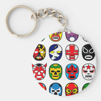 Lucha Libre Mask wrestler Mexican Wrestling Basic Round Button Key Ring