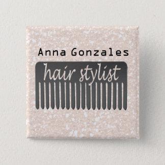 Lucida Handwriting Typography Stylist Hair Comb 15 Cm Square Badge