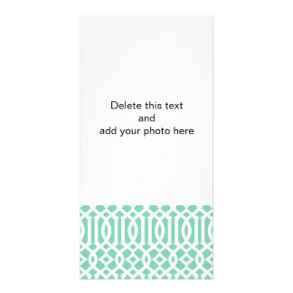 Lucite and White Modern Trellis Pattern Photo Card