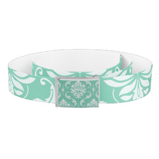 Lucite Green and White Classic Damask Belt