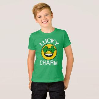 Lucky Charm Emoji Shamrock St Patricks Day Kids T-Shirt