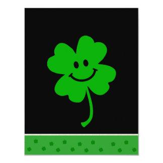 Lucky four leaf clover smiley face card
