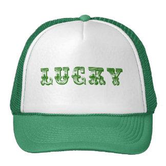 Lucky-Green Retro Fancy Text Design 3 Cap