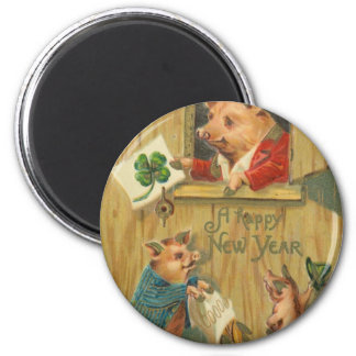 lucky horse shoe and pigs 6 cm round magnet