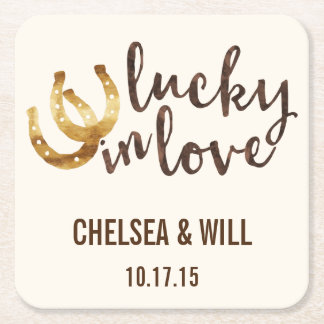 Lucky in Love Horseshoe Wedding Coasters
