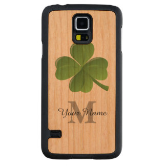 Lucky Irish shamrock clover monogrammed Carved Cherry Galaxy S5 Case