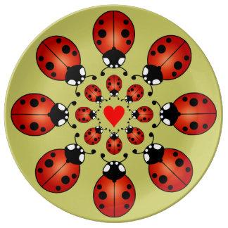 Lucky Ladybugs Sixteen Ladybirds Circles Heart Porcelain Plates