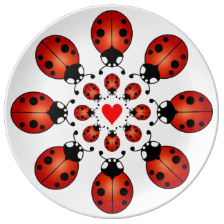 Lucky Ladybugs Two Circles of Ladybirds with Heart Porcelain Plates