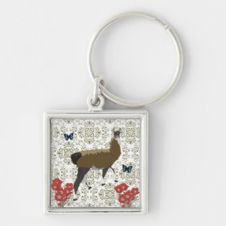 Lucky Llama Olive Damask Keychain