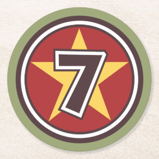 Lucky Number 7 Round Paper Coaster