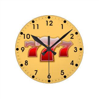 Lucky Seven Round Clock