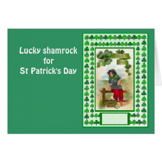 Lucky shamrock for St Patrick's Day Greeting Card