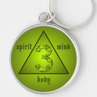 Lucky Three Green Triangle Mind Body Spirit Silver-Colored Round Key Ring