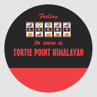 Lucky to Own a Tortie Point Himalayan Fun Cat Desi Classic Round Sticker