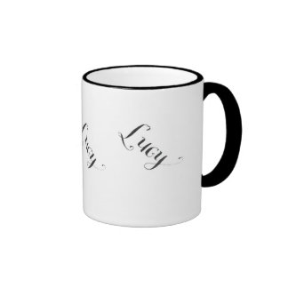 Lucy name mug in black and white