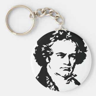 Ludwig van Beethoven Basic Round Button Key Ring