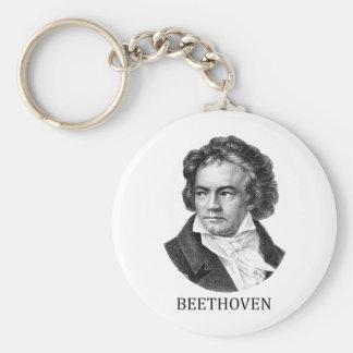 Ludwig van Beethoven, black Basic Round Button Key Ring