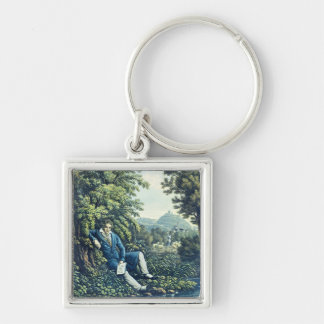 Ludwig van Beethoven by a River (coloured engravin Silver-Colored Square Key Ring