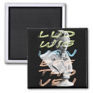 Ludwig van Beethoven in neon typography design Magnet