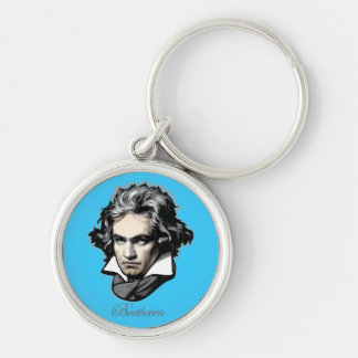 Ludwig van Beethoven Silver-Colored Round Key Ring