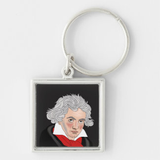 Ludwig van Beethoven Silver-Colored Square Key Ring