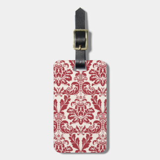 luggage tag...red and white damask luggage tags