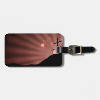 Luggage Tag w/ leather strap - Red Starburst Cross