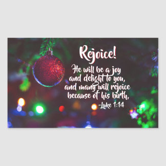 Luke 1:14 Rejoice! He will be a joy, Christmas Rectangular Sticker