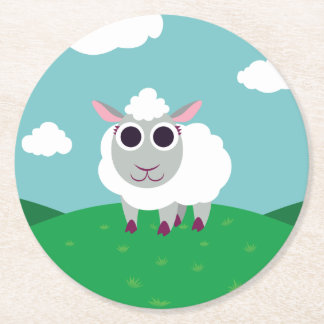 Lulu the Sheep Round Paper Coaster
