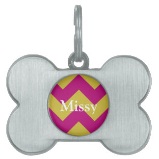 {lum and yellow chevrons design pet ID tags