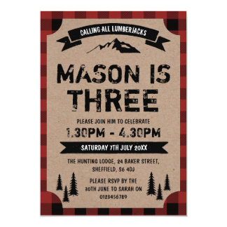 Lumberjack themed birthday party invitation