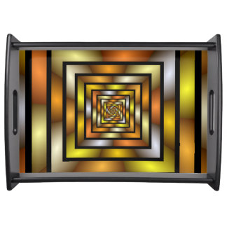 Luminous Tunnel Colorful Graphic Fractal Pattern Serving Tray