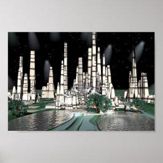 Luna City Heaven, bryce 5.0 artwork by me Poster