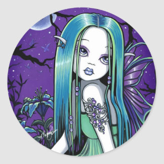 """""""Luna"""" Gothic Moon Lilly Fairy Art Stickers"""