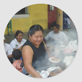 Lunch in Antigua Classic Round Sticker
