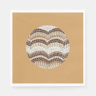 Luncheon paper napkins with beige mosaic