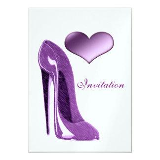 Luscious Lilac Stiletto Shoe and Heart Invitation