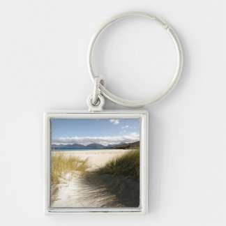 Luskentyre Beach Silver-Colored Square Key Ring