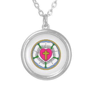 Lutheran Rose Round Pendant Necklace