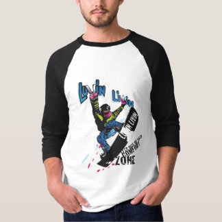 Luvin Livin Snow Boarder Graphic 3/4 sleeve Tee Sh